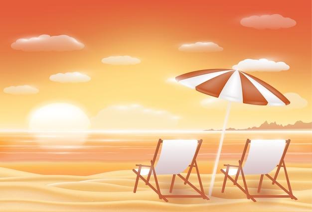 Schöne sonnenuntergangseesand-strandszene