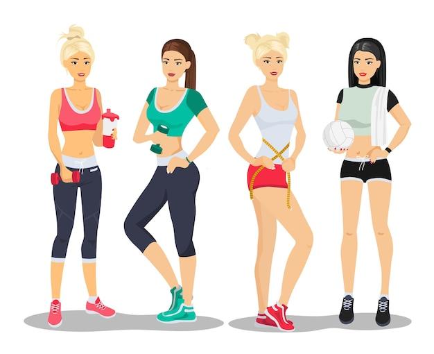 Schöne sport fitness mädchen modelle. flache illustration der turnhalle der jungen frau.