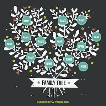 Schöne stammbaum mit blumenschmuck