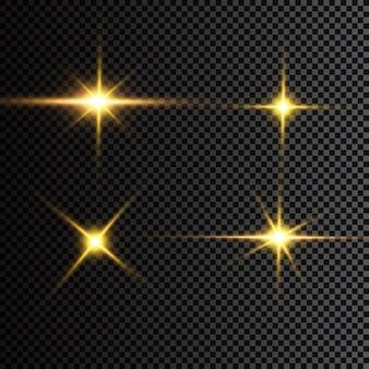 Schöne sterne auf einem dunklen hintergrund. fallende goldene sterne setzen ikonen von meteoriten und kometen - sammlung von meteoriten und kometen.