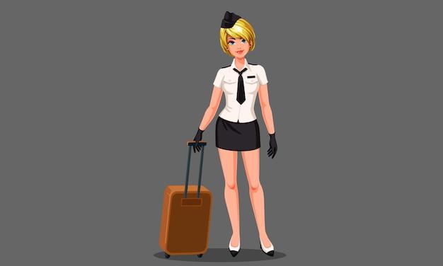Schöne stewardess mit koffervektorillustration