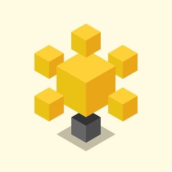 Schöne stilisierte gelbe isometrische kubische glühbirne. solides einfaches glühbirnensymbol. idee, einsicht, kreativität, inspiration, innovation und technologiekonzept. eps 8-vektor-illustration, keine transparenz