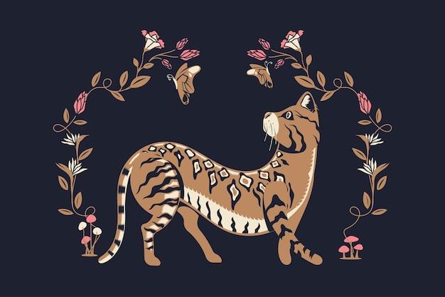 Schöne stilvolle bengal cat walk und verspielt mit schmetterling