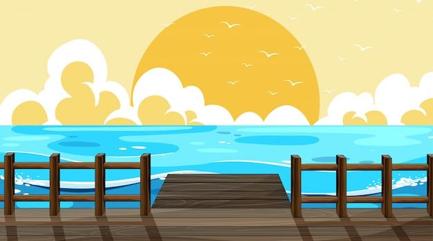 Schöne strandhintergrundszene Kostenlosen Vektoren