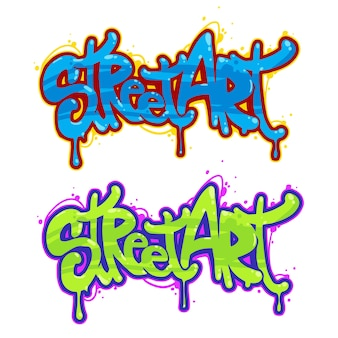 Schöne straßenkunst von graffiti. kreative zeichnungsmode der abstrakten farbe auf wänden der stadt.