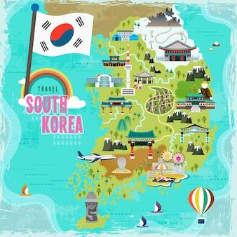 Schöne südkorea-reisekarte im flachen stil