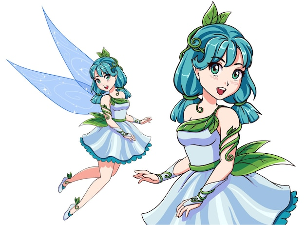Schöne süße fee mit blauen zöpfen, die weißes kleid tragen. anime-stil handgezeichnete vektor-illustration. isoliert auf weißem hintergrund. kann für kinderspiele, t-shirt-vorlagen, bücher usw. verwendet werden.