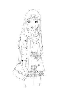 Schöne süße mädchen handgezeichnete glückliche junge mädchen teenager cartoon doodle frauen isolierten vektor