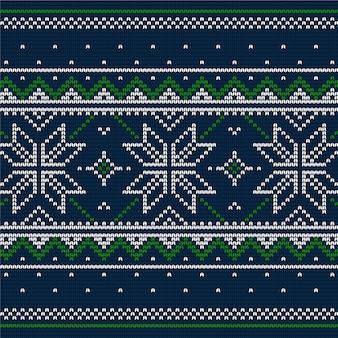 Schöne tapete mit gestricktem weihnachtsmuster