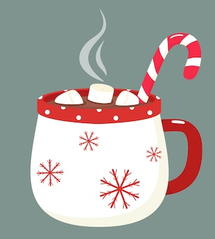 Schöne tasse mit heißer schokolade, marshmallows und süßigkeiten. illustration im flachen stil.