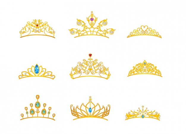 Schöne tiara gold mit unterschiedlicher größe und modell