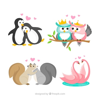 Schöne tierpaarsammlung für valentinsgruß
