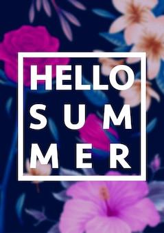 Schöne tropische blumen mit beschriftung auf unschärfehintergrund. sommer-konzept illustration