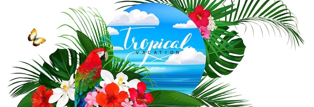 Schöne tropische fahne mit blumenschmetterlingspapagei und palmblättern und meereshintergrund