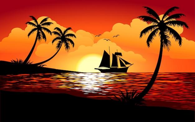 Schöne tropische sonnenuntergangillustration mit segelschiff