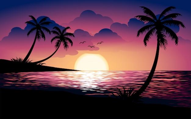 Schöne tropische sonnenuntergangillustration