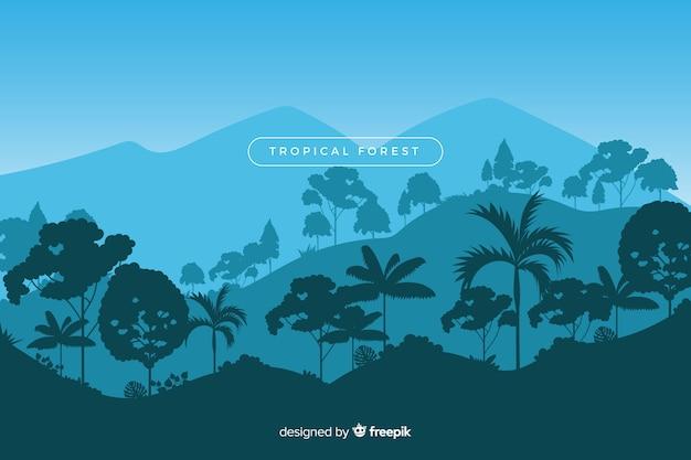 Schöne tropische waldlandschaft mit vielzahl von bäumen