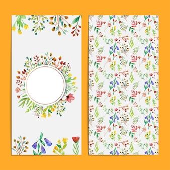 Schöne und bunte aquarell wildblumenhochzeitskarten-set-vorlage