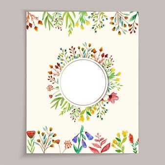 Schöne und bunte wilde blumenhochzeitskarte mit aquarell