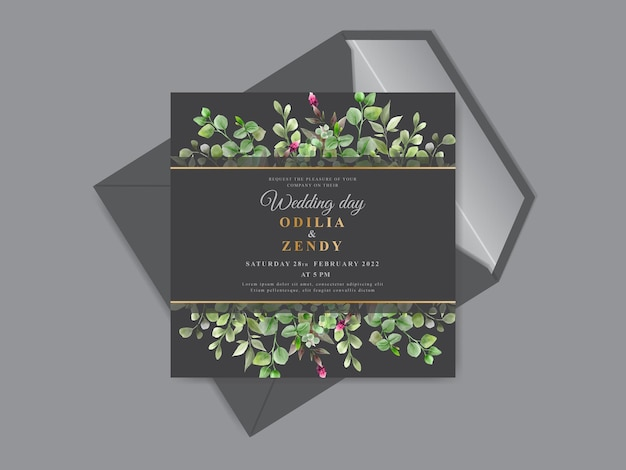 Schöne und elegante blumen handgezeichnete hochzeitseinladungskartenvorlagen