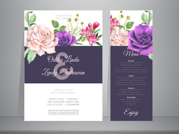 Schöne und elegante handgezeichnete rosenblumenhochzeitseinladungsschablone
