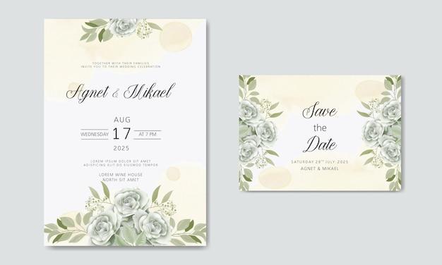 Schöne und elegante hochzeitseinladungskarten mit blumenthemen