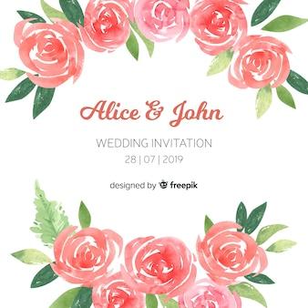 Schöne und elegante hochzeitseinladungsschablone mit aquarellpfingstrosenblumen