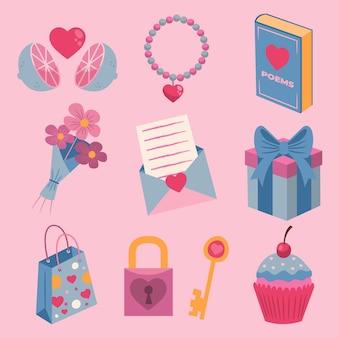 Schöne valentinstag elemente