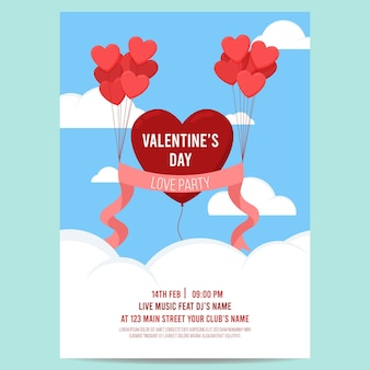 Schöne valentinstag party flyer vorlage