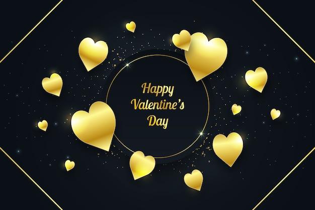 Schöne valentinstag tapete mit goldenen elementen