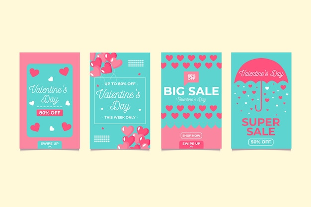 Schöne valentinstag-verkauf-story-set