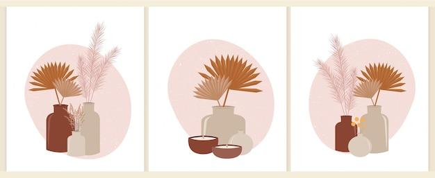 Schöne vasen mit kunstdrucken der getrockneten blumen