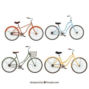 Schöne vintage-fahrräder im flachen design