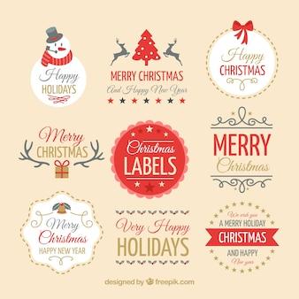 Schöne vintage weihnachts-abzeichen