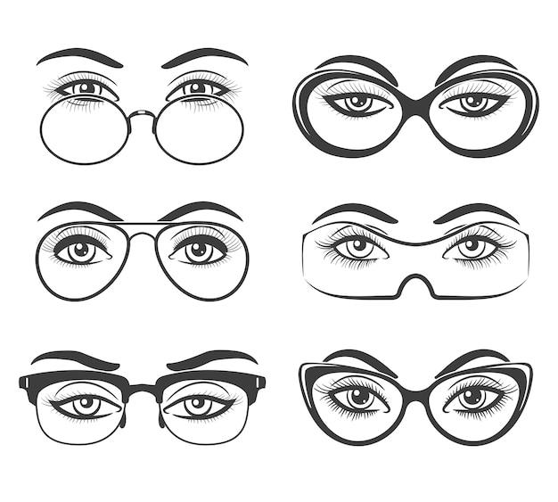 Schöne weibliche augen in gläsern
