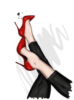 Schöne weibliche beine in stilvollen hosen und schuhen auf high heels