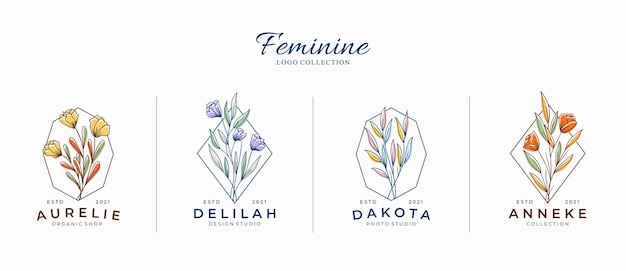 Schöne weibliche botanische blumenlogos mit geometrischen formen