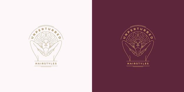 Schöne weibliche linie gesicht mit flatternden haaren vektor-logo emblem design-vorlage illustration einfache minimale lineare stil. gliederungsgrafiken für kosmetik-branding und frisuren-salon.