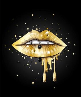 Schöne weibliche lippen in hellem lippenstift