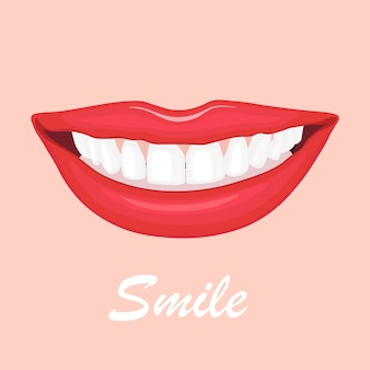 Schöne weibliche lippen mit weißen zähnen. lächeln