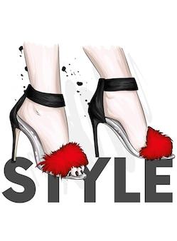 Schöne weibliche sandalen mit hohen absätzen