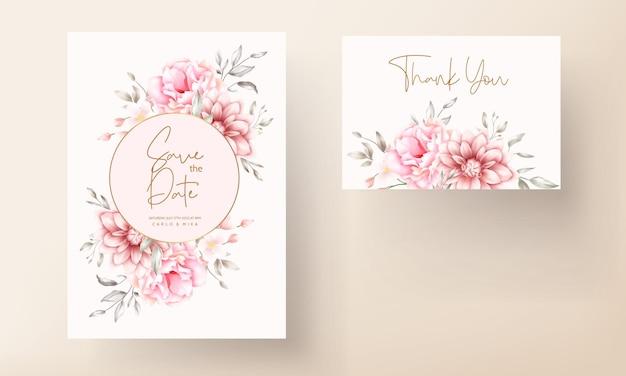 Schöne weiche pfirsich und braune blumenaquarellhochzeitskarte
