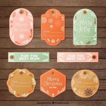 Schöne weihnachten-etiketten im vintage-stil
