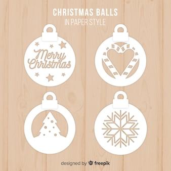 Schöne weihnachtsballsammlung mit papierart