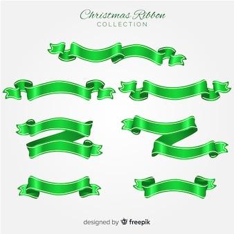 Schöne weihnachtsbandsammlung im flachen design