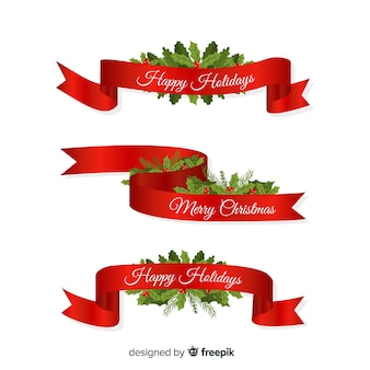Schöne weihnachtsbandsammlung mit flachem design