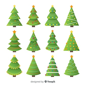 Schöne weihnachtsbaum-sammlung mit flachem design