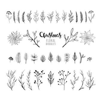 Schöne weihnachtsblumenkritzeleien lokalisiert auf weiß botanische vektorelemente für weihnachtsdekor