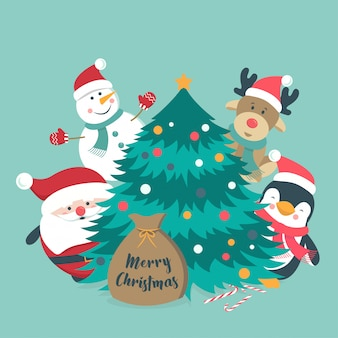 Schöne weihnachtscharaktersammlung mit flachem design