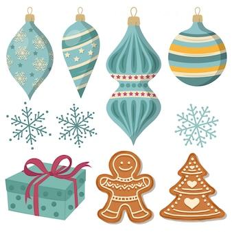 Schöne weihnachtsdekorationssammlung lokalisiert auf weiß